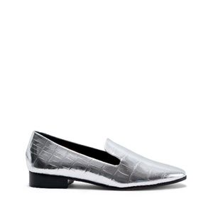 Schutz Flor Croc Embossed Metallic Silver Flat 10B